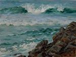Ponto Jetty, Carlsbad by Carole Mayne Oil ~ 9 x 12