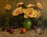 Peonies and Fruit by Carole Mayne Oil ~ 20 x 24