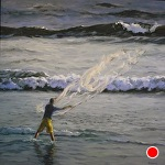 Net Fishing at Dawn by Carole Mayne Oil ~ 24 x 24