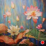 Radiance ~ Lotus Cafe by Carole Mayne Oil ~ 48 x 48