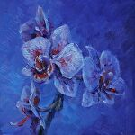 Orchid study in Blue Violet by Carole Mayne Oil ~ 6 x 6