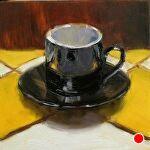 Counter Culture - Espresso Cup by Carole Mayne Oil ~ 6 x 6