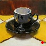 Counter Culture - Espresso Cup by Carole Mayne Oil ~ 6 x 6