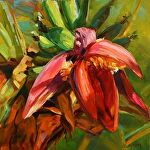 Banana Flowering by Carole Mayne Oil ~ 8 x 8