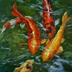 Koi for the Pisces by Carole Mayne Oil ~ 8 x 8