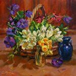 Basketful of Spring by Carole Mayne Oil ~ 8 x 8