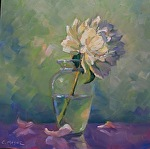 Half Full Blown by Carole Mayne Oil ~ 8 x 8
