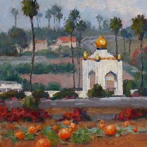 Pumpkins and Lotus Tower by Carole Mayne Oil ~ 8 x 8