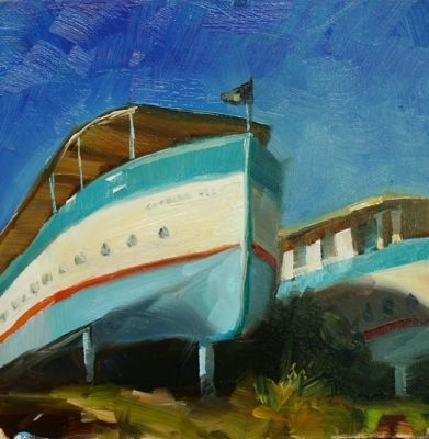 Boat Houses, Encinitas by Carole Mayne Oil ~ 6 x 6