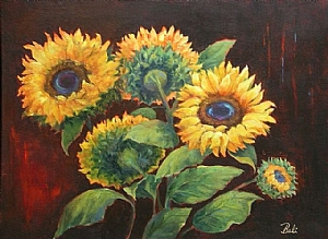 "Danni Shobe, ""Mississippi Sunflowers"" by Associated Women in the Arts Acrylic ~ 18"" x 24"""
