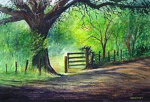 "Sarah Fergus, ""Country Road"" by Associated Women in the Arts Watercolor ~ 15"" x 22"""