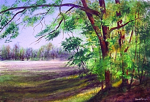 "Sarah Fergus, ""Afternoon Light"" by Associated Women in the Arts Watercolor ~ 15"" x 22"""
