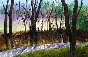 "Sarah Fergus, ""Feliciana Road"" by Associated Women in the Arts Watercolor ~ 15"" x 22"""
