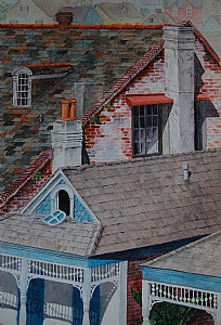 "Louise Hansen, ""Upon the Roof"" by Associated Women in the Arts Watercolor ~ 21"" x 14"""