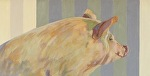 "Pensive Pig by Nancy Bass Oil ~ 12"" x 24"""