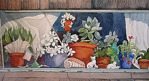"Cottage Window at Oregon Coast by Judy Findley Watercolor ~ 11.5"" x 22"""