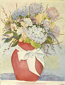 The Pink Vase by Judy Findley Watercolor ~ 27 x 21
