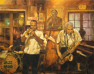 Preservation Hall Jazz Masters by Alan Flattmann Pastel ~ 24 x 30