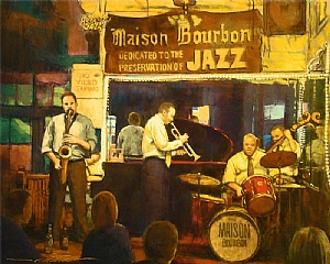 "Maison Bourbon Jazz Club by Alan Flattmann Pastel ~ 24"" x 30"""