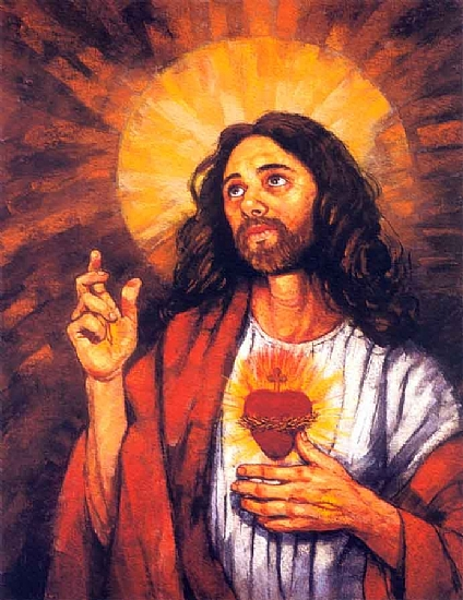 "The Sacred Heart of Jesus by Alan Flattmann Giclee Print ~ 29"" x 22"""