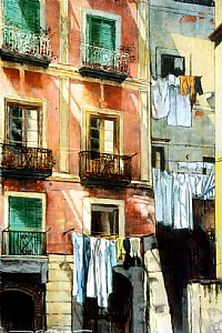 "Wash Day in Rome by Alan Flattmann Pastel ~ 36"" x 24"""