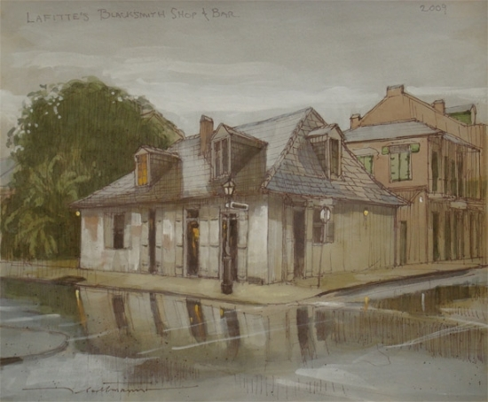 "Lafitte's Blacksmith Shop & Bar by Alan Flattmann Watercolor ~ 11"" x 13"""