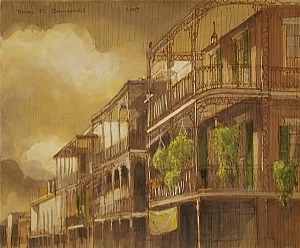 "Royal Street Balconies by Alan Flattmann Watercolor ~ 11"" x 13"""
