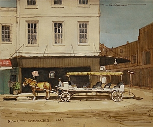 "Mid-City Carriages by Alan Flattmann Watercolor ~ 11"" x 13"""