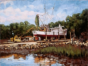 "Dry Docked by Alan Flattmann Pastel ~ 18"" x 24"""