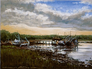 "The Boat Graveyard by Alan Flattmann Pastel ~ 18"" x 24"""