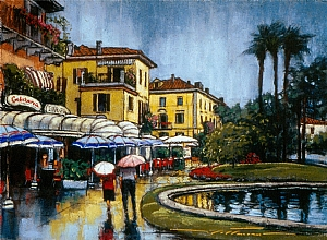 "Rainy Day in Pollanza by Alan Flattmann Pastel ~ 16"" x 22"""