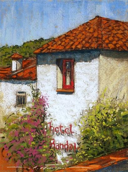"""Hotel Bandolero in Juzcar by Alan Flattmann Pastel ~ 16"""" x 12"""""""