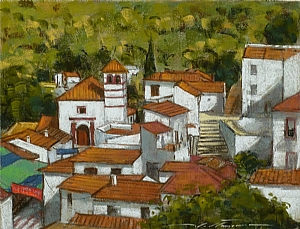 "Village of Juzcar, Spain by Alan Flattmann Pastel ~ 14"" x 18"""