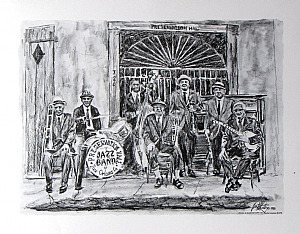 "Preservation Hall Jazz Band by Brent McCarthy Lithograph ~ 16"" x 12"""