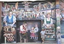 the Marktplatz, Panel one of Wurstfest 50th Anniversary mural by Brent McCarthy Acrylic ~ 17 ft x 25 ft