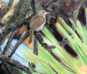 Mister Wren by Greg Eiselein Oil ~ 10 inches x 12 inches