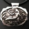 Cast Pewter Mermaid set in Sterling Silver on Black Cord