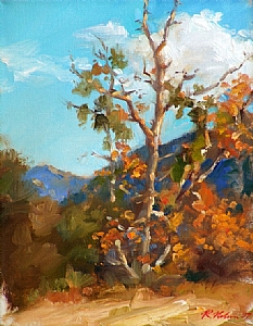 Santa Monica Mountains Afternoon by Richard Christian Nelson Oil ~ 14 x 11