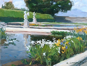Biltmore Spring Garden in Asheville by Richard Oversmith Oil ~ 11 x 14