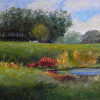 "Field Study: The Beekeeper`s Pond (oil on panel, 9"" x 12)"