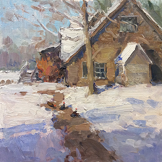Chickens in the Snow - Oil