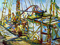 Working fishermen at Gloucester by Dennis Poirier Acrylic ~ 6 x 8