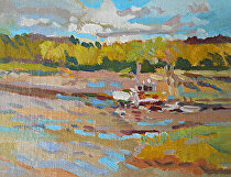 Summer Clouds at Cape Neddick by Dennis Poirier Oil ~ 6 x 8
