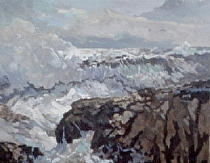 Surf at Kennebunkport by Dennis Poirier Oil ~ 16 x 20