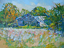 The Farm in Autumn by Dennis Poirier Oil ~ 12 x 16