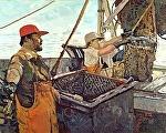 Hazy Morning Fishermen by Dennis Poirier Oil ~ 24 x 30
