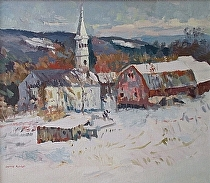Toward evening at Peacham by Dennis Poirier Oil ~ 14 x 16