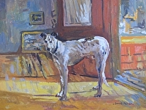 Greyhound in the Gallery by Dennis Poirier Oil ~ 12 x 16
