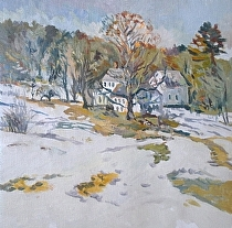 A Winter Harmony North Berwick by Dennis Poirier Oil ~ 18 x 18