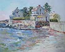Hazy and Hot - Mother's beach by Dennis Poirier Oil ~ 16 x 20